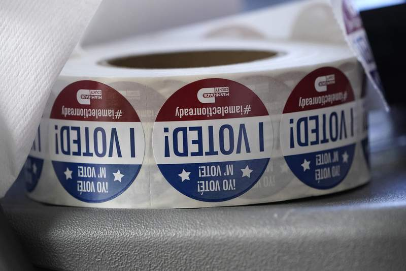 """A roll of """"I Voted!"""" stickers are shown, Tuesday, Oct. 6, 2020, at the Miami-Dade County Elections Department in Doral, Fla. Florida Gov. Ron DeSantis extended the state's voter registration deadline after heavy traffic crashed the state's online system and potentially prevented thousands of enrolling to cast ballots in next month's presidential election. (AP Photo/Wilfredo Lee)"""