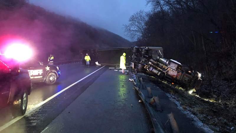 Tractor-trailer crash on Interstate 81 at mile marker 126.7 on Feb. 13, 2021