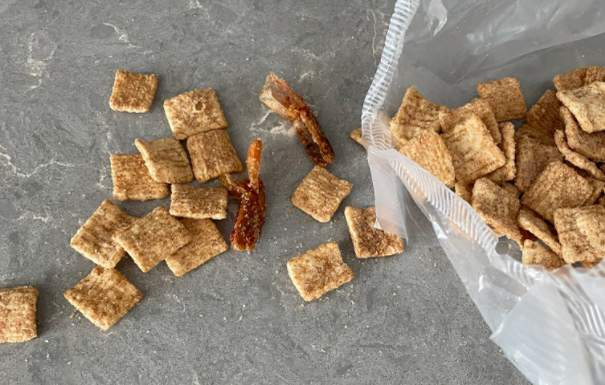 Los Angeles writer and comedian Jensen Karp discovered shrimp tails in his box of Cinnamon Toast Crunch cereal, sparking debate with General Mills. Photo: Jensen Karp.