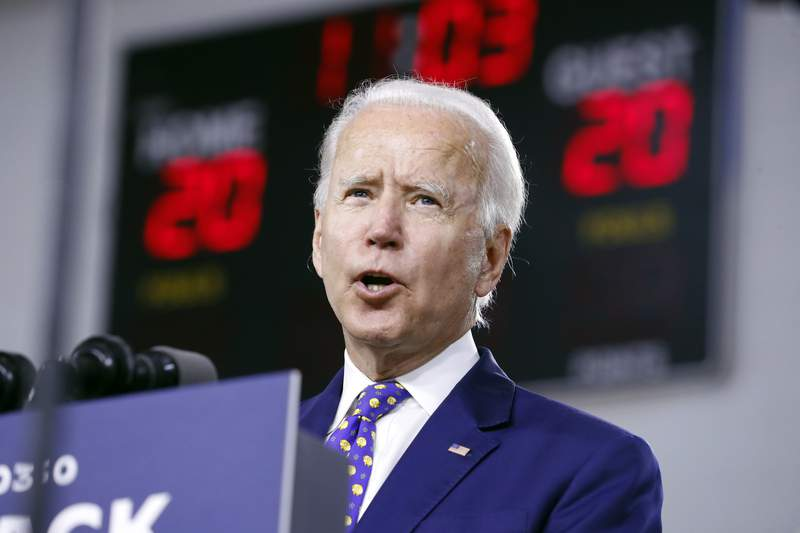 FILE - In this July 28, 2020, file photo, Democratic presidential candidate former Vice President Joe Biden speaks at a campaign event in Wilmington, Del. Despite all the secrecy, the speculation and the fierce jockeying behind the scenes, presidential running mates rarely sway an election. But as the political world awaits the imminent announcement of Bidens vice presidential pick, there is a real sense among his allies and adversaries that this decision may matter more in 2020.  (AP Photo/Andrew Harnik, File)