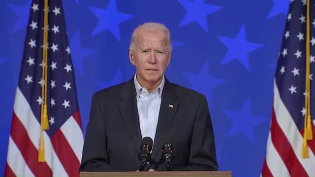 Joe Biden delivering a statement on Nov. 5, 2020, shortly after 4:15 p.m.