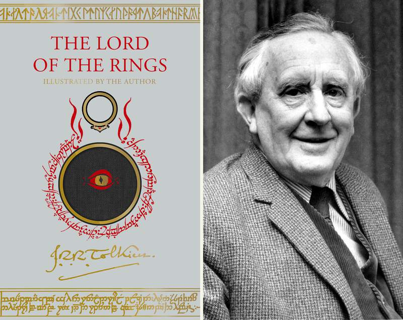 """This combination photo shows an upcoming edition of J.R.R. Tolkien's """"The Lord of the Rings"""" trilogy, left, and a 1967 photo of Tolkien. The new edition will include paintings, drawings and other illustrations by the British author for the first time since it was published in the mid-1950s. Houghton Mifflin Harcourt Books & Media announced Thursday, March 25, 2021, that the new version will come out Oct. 19. (Houghton Mifflin via AP, left, and AP Photo)"""