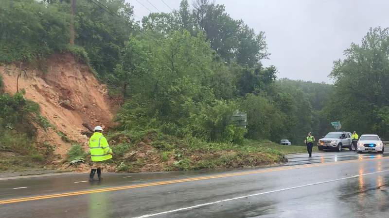 Mudslide on Bent Mountain Road on May 21, 2020.