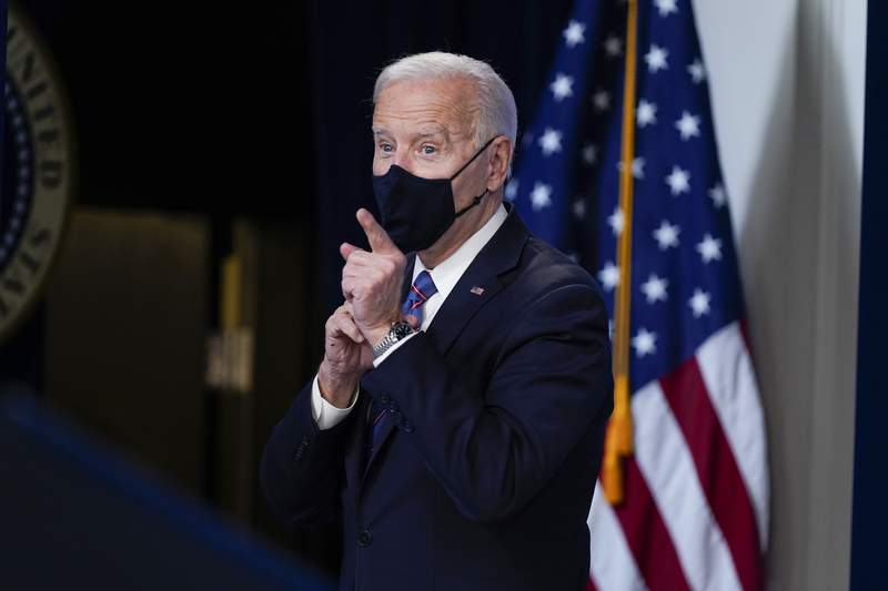 President Joe Biden looks on after speaking during an event to mark Equal Pay Day in the South Court Auditorium in the Eisenhower Executive Office Building on the White House Campus Wednesday, March 24, 2021, in Washington. (AP Photo/Evan Vucci)