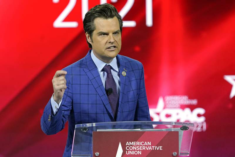 FILE - In this Feb. 26, 2021, file photo Rep. Matt Gaetz, R-Fla.,, speaks at the Conservative Political Action Conference (CPAC) in Orlando, Fla. (AP Photo/John Raoux, File)