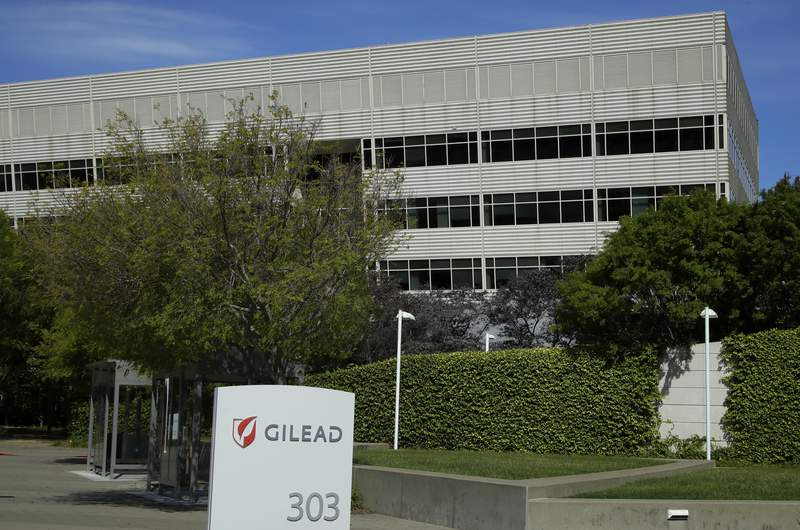 FILE - This is an April 30, 2020, file photo showing Gilead Sciences headquarters in Foster City, Calif. A California biotech company says its experimental drug remdesivir improved symptoms when given for five days to moderately ill, hospitalized patients with COVID-19. Gilead Sciences gave few details on Monday, June 1, 2020, but said full results would soon be published in a medical journal. (AP Photo/Ben Margot, File)