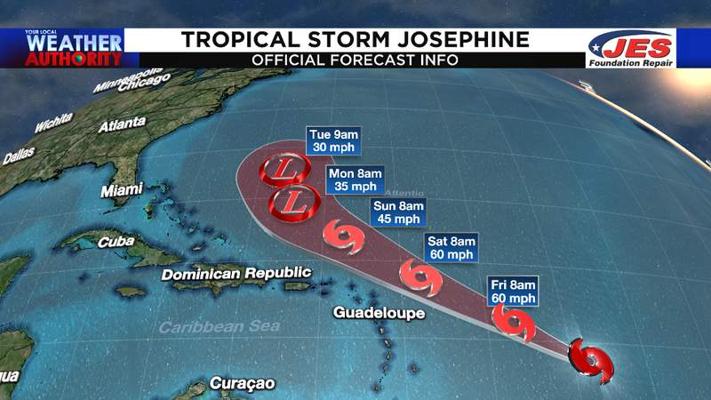 First official track for Tropical Storm Josephine - NHC