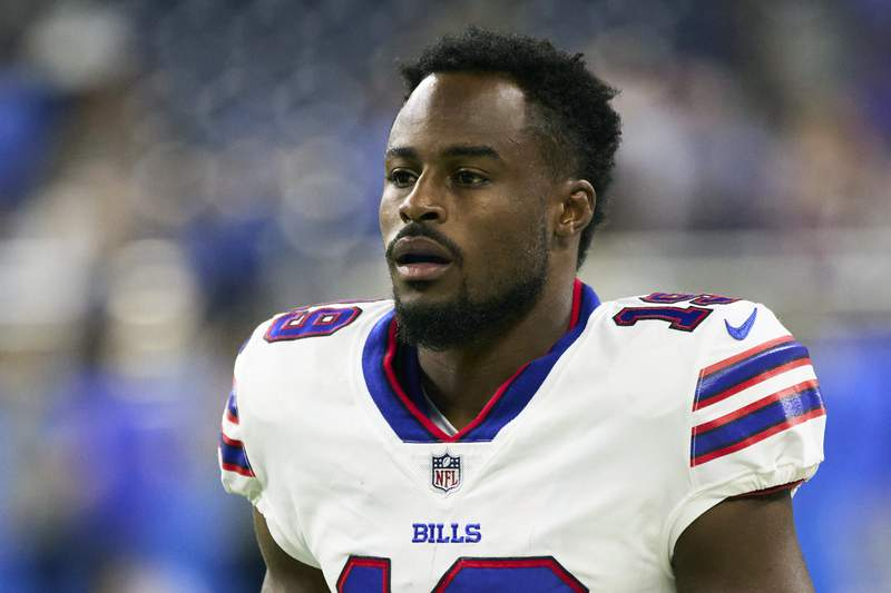 Buffalo Bills wide receiver Isaiah McKenzie (19) is shown on the field during an NFL preseason football game against the Detroit Lions in Detroit, in this Friday, Aug. 13, 2021, photo. McKenzie revealed he faces NFL discipline for violating the leagues COVID-19 protocols for unvaccinated players by failing to wear a mask inside the teams facility. McKenzie wrote: They got me! @NFL you win! in a Thursday, Aug. 26 social media post in which he included a copy of the first page of a letter he received from the league informing him of the violation. (AP Photo/Rick Osentoski)