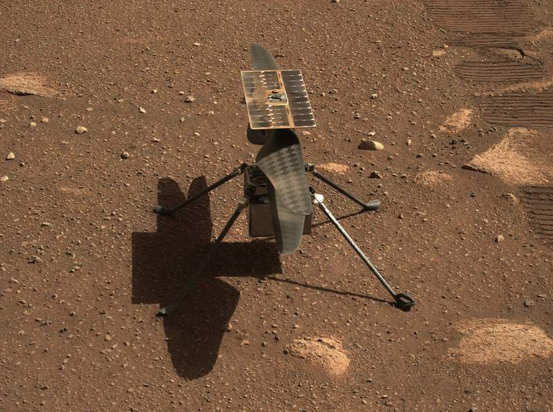 NASA's Ingenuity Mars helicopter is seen in a close-up taken by Mastcam-Z, a pair of zoomable cameras aboard the Perseverance rover. This image was taken on April 5, 2021, the 45th Martian day, or sol, of the mission. Credits: NASA/JPL-Caltech/ASU