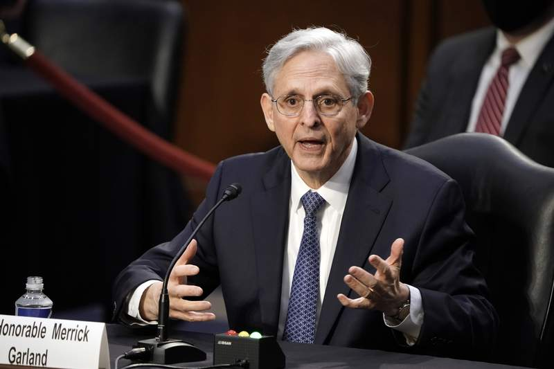 Judge Merrick Garland, President Joe Biden's pick to be attorney general, answers questions from Sen. John Kennedy, R-La., as he appears before the Senate Judiciary Committee for his confirmation hearing, on Capitol Hill in Washington, Monday, Feb. 22, 2021. (AP Photo/J. Scott Applewhite)