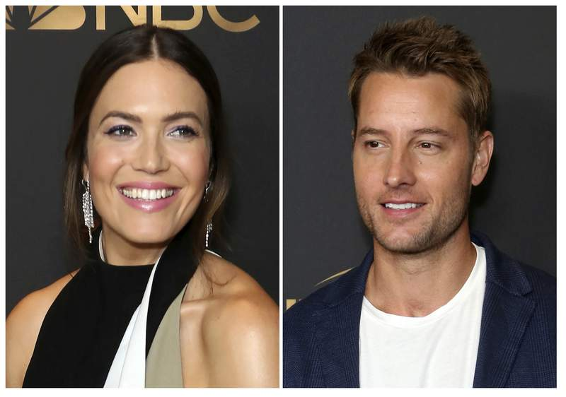 """This combination photo shows Mandy Moore, left, and Justin Hartley at the NBC and Universal Television Emmy Nominee Celebration in West Hollywood, Calif. Moore and Hartley, co-stars on the NBC series """"This is Us,"""" will co-host NBC's annual Red Nose Day special on May 21.  (Photos by Willy Sanjuan/Invision/AP)"""