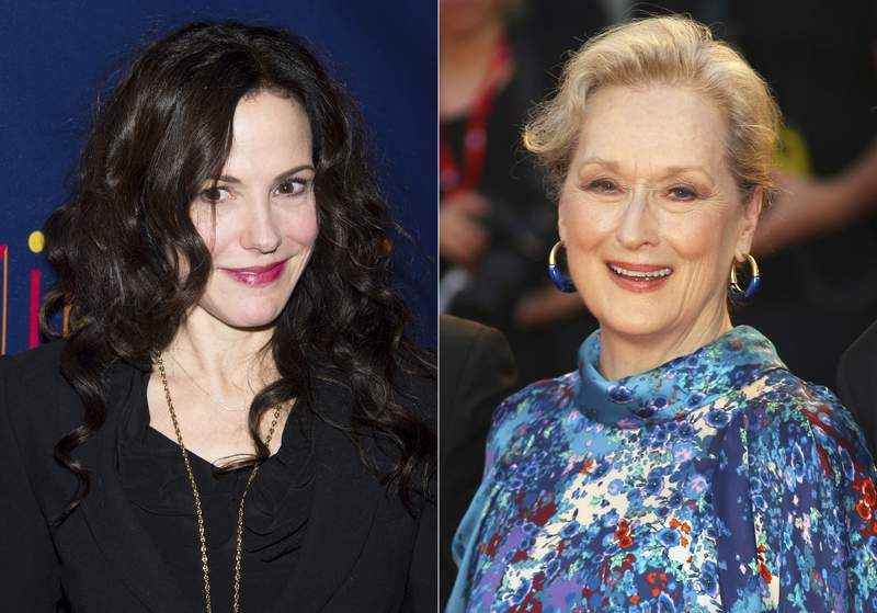 """Mary-Louise Parker attends the Broadway opening of """"After Midnight"""" on Nov. 3, 2013 in New York, left, and Meryl Streep arrives at the premiere of the film 'The Laundromat' at the 76th edition of the Venice Film Festival, Venice, Italy, on Sept. 1, 2019. Parker and Streep have signed on to perform in a new virtual play series this spring while Broadway is closed. (AP Photo)"""
