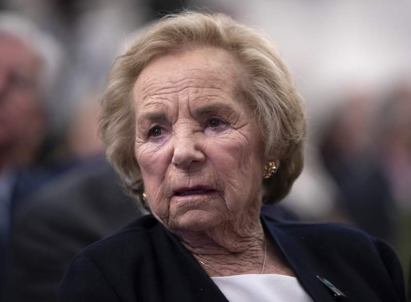 """FILE In this June 5, 2018 file photograph, Ethel Kennedy, widow of Senator Robert F. Kennedy who was assassinated during his 1968 presidential campaign, watches a video about her late husband during the Robert F. Kennedy Human Rights awards ceremony on Capitol Hill in Washington. In a brief statement released on Twitter by her daughter, lawyer and activist Kerry Kennedy, Ethel Kennedy said bluntly Tuesday Sept. 7, 2021 that her husband's assassin, Sirhan Sirhan, """"should not be paroled."""" (AP Photo/J. Scott Applewhite, File)"""