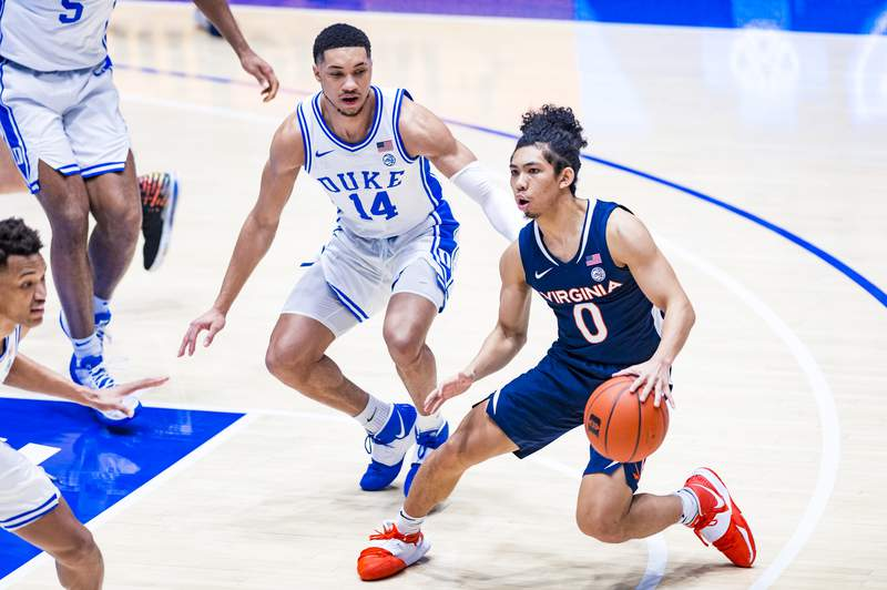 Duke Men's Basketball takes on the University of Virginia Cavaliers in the first half at the Cameron Indoor Stadium on February  20, 2021 at Durham, North Carolina.