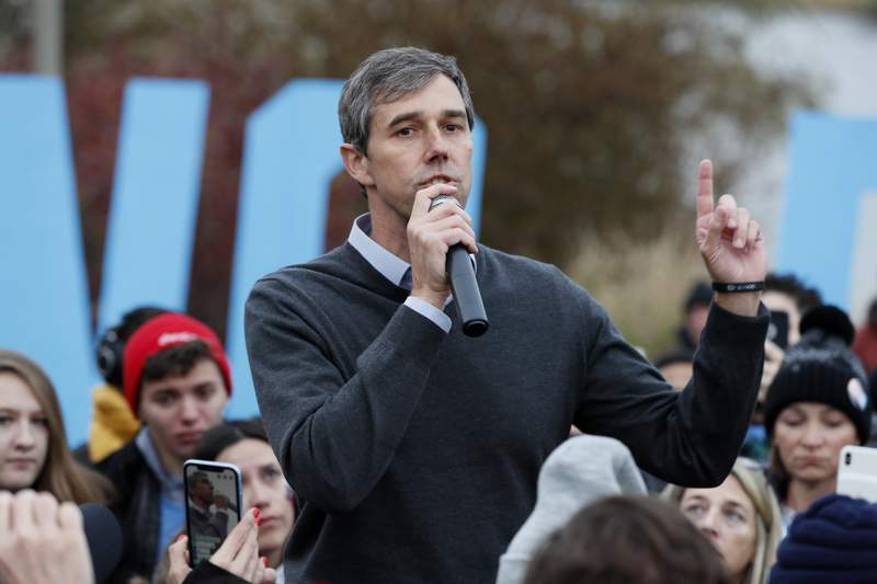 FILE - In this Nov. 1, 2019, file photo Democratic presidential candidate Beto O'Rourke speaks to supporters before the Iowa Democratic Party's Liberty and Justice Celebration in Des Moines, Iowa. Three years after becoming Democrats breakout star out of Texas, and a year after a short-lived presidential run, ORoukre is again weighing another campaign, this time for Texas governor. (AP Photo/Charlie Neibergall, File)