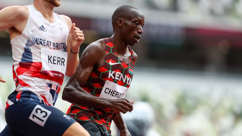 TOKYO, JAPAN - AUGUST 03: Timothy Cheruiyot of Team Kenya in the heats of the mens 1500m during the Athletics event on Day 11 of the Tokyo 2020 Olympic Games at the Olympic Stadium on August 03, 2021 Tokyo, Japan. (Photo by Roger Sedres/Gallo Images)