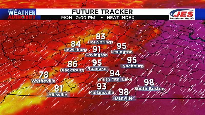 Peak heat index for Monday, 7/12/2021