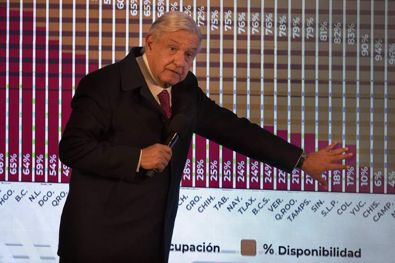 Mexican President Andres Manuel Lopez Obrador points to a graph showing the percentages of hospital beds available, state by state, during his daily news conference at the presidential palace, Palacio Nacional, in Mexico City, Friday, Dec. 18, 2020. After months of resisting to avoid hurting the economy, officials announced Friday that Mexico City and the surrounding State of Mexico will ban all non-essential activities and return to a partial lockdown because of a spike in coronavirus cases. (AP Photo/Marco Ugarte)
