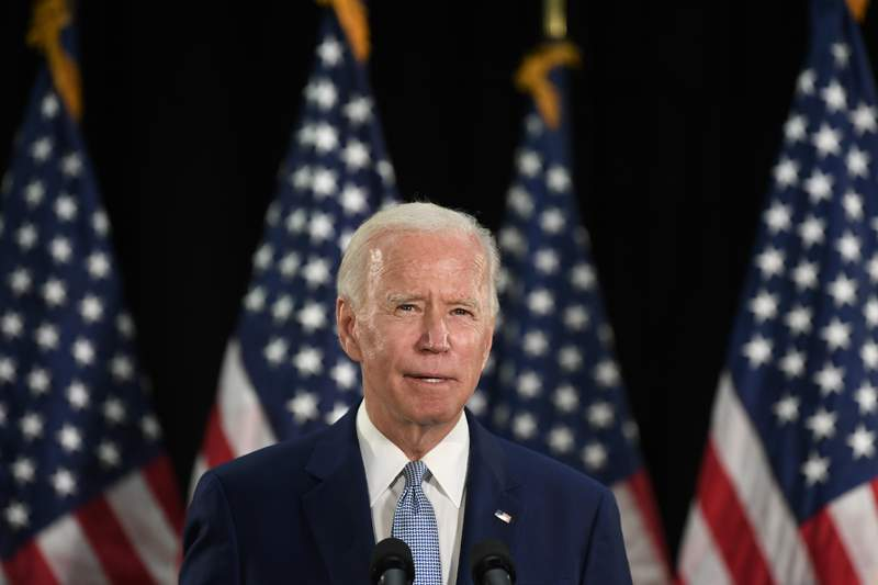 Democratic presidential candidate, former Vice President Joe Biden speaks about the economy during an event in Dover, Del., Friday, June 5, 2020. (AP Photo/Susan Walsh)