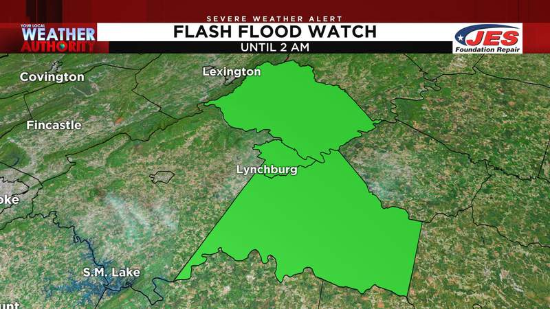 Officials have issued a Flash Flood Watch for parts of Central Virginia and say Lynchburg's College Lake Dam could potentially fail.