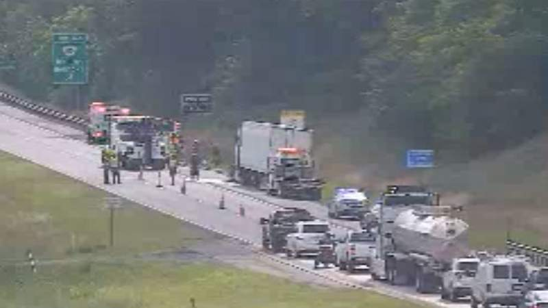 Camera showing the backup on Interstate 81 at mile marker 147.3 in the southbound direction at 5:07 p.m. on June 10, 2021.