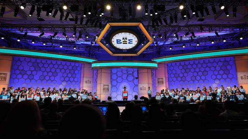 Students fill the stage during the second round of the Scripps National Spelling Bee at the Gaylord National Resort & Convention Center May 28, 2019 in National Harbor, Maryland. Students from across the country and around the world compete in the spelling competition, which started in 1925. (Photo by Chip Somodevilla/Getty Images)