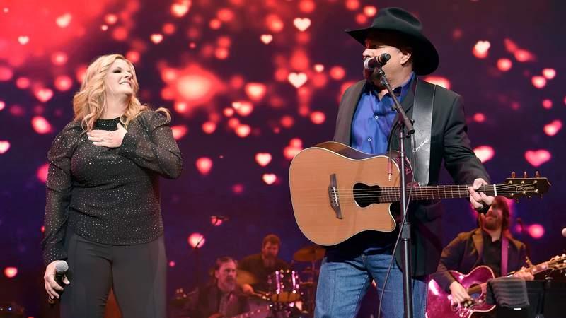 Trisha Yearwood and Garth Brooks perform onstage for Loretta Lynn: An All-Star Birthday Celebration Concert at Bridgestone Arena on April 1, 2019 in Nashville, Tennessee.