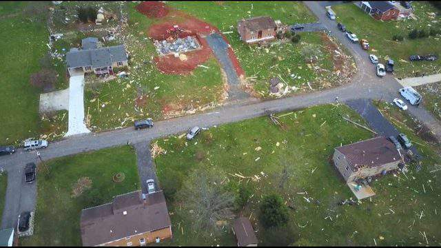 Aerial photo of EF-3 tornado damage in Elon, VA
