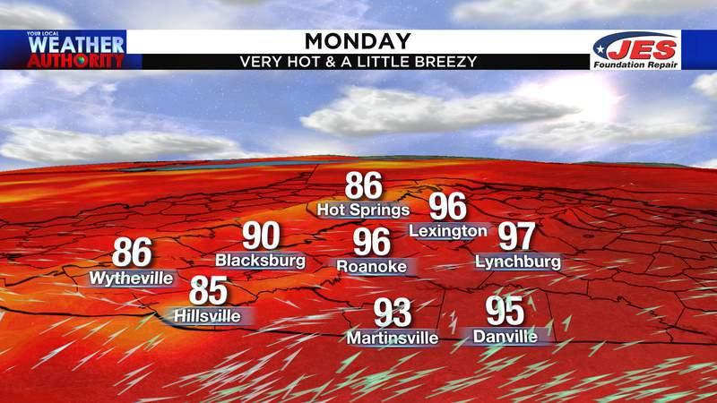 Monday's forecast high temperatures