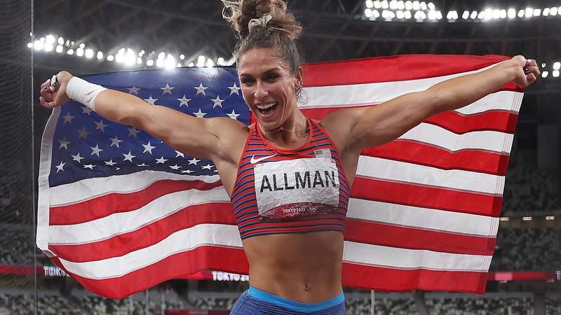 TOKYO, JAPAN - AUGUST 02: Valarie Allman of Team United States reacts after winning the gold medal in the women's discus throw final on day ten of the Tokyo 2020 Olympic Games at Olympic Stadium on August 02, 2021 in Tokyo, Japan. (Photo by Christian Petersen/Getty Images)