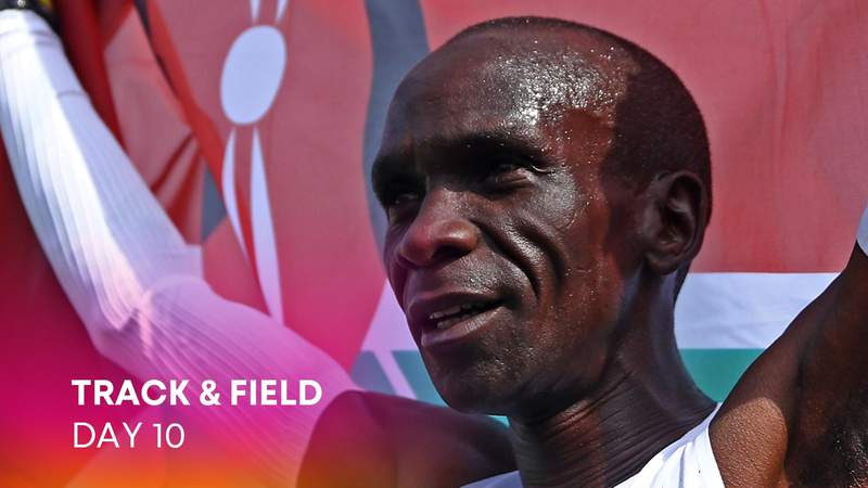 Doha , Qatar - 6 October 2019; Joshua Cheptegei of Uganda celebrates after winning the Men's 10,000m during day ten of the 17th IAAF World Athletics Championships Doha 2019 at the Khalifa International Stadium in Doha, Qatar. (Photo By Sam Barnes/Sportsfile via Getty Images)