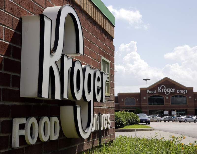 FILE - This June 17, 2014, file photo, shows a Kroger store in Houston. Kroger Co. says it was among the multiple victims of a data breach involving a third-party vendor's file-transfer service and is notifying potentially impacted customers, offering them free credit monitoring. The Cincinnati-based grocery and pharmacy chain said in a statement Friday, Feb. 19, 2021, that it believes less than 1% of its customers were affected, specifically some using its Health and Money Services, as well as some current and former employees because a number of personnel records were apparently viewed. (AP Photo/David J. Phillip, File)