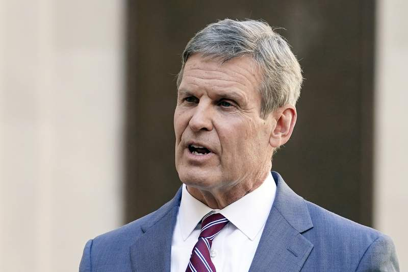 FILE - In this Jan. 19, 2021, file photo, Tennessee Gov. Bill Lee answers questions after he spoke to a joint session of the legislature at the start of a special session on education in Nashville, Tenn. Despite having some of the lowest COVID-19 vaccination rates in the country, Tennessee isn't planning to offer any incentives for people to get the shot. But it's a different story when it comes to cattle, where the state has reimbursed farmers nearly half a million dollars over the past two years to vaccinate their herds against respiratory and other diseases. (AP Photo/Mark Humphrey, File)