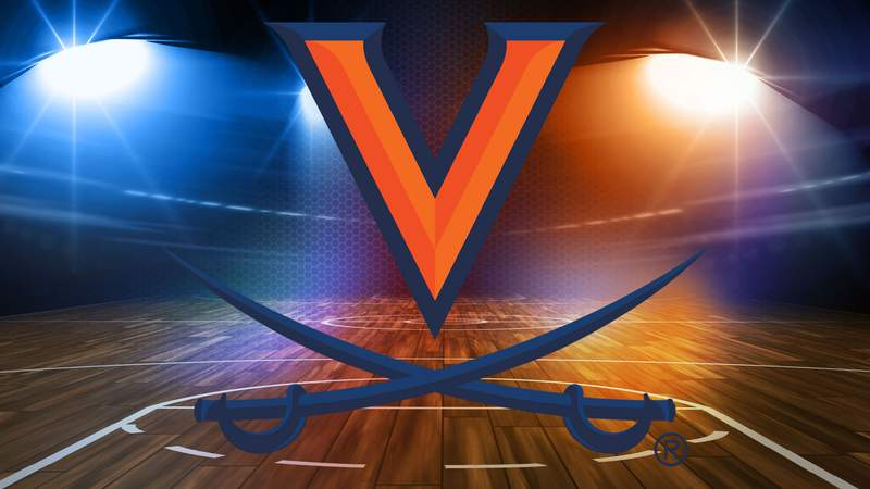 UVA Athletics Logo on basketball court