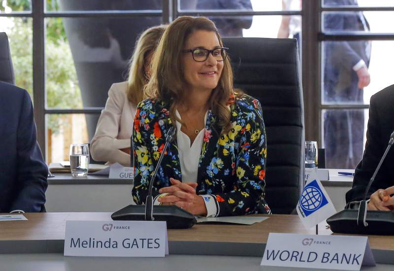 FILE - Melinda Gates attends a meeting at the G-7 Finance in Chantilly, north of Paris, on Thursday, July 18, 2019. Philanthropy is in a unique position to speed global change, but government action is necessary to implement it, Melinda Gates, co-chair of the Bill & Melinda Gates Foundation, said Wednesday, March 17, 2021. (AP Photo/Michel Euler, file)