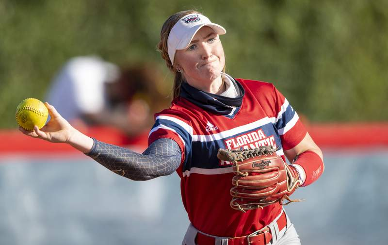 This Feb. 20, 2021 photo shows FAU utility player Riley Ennis during an NCAA softball game in Boca Raton, Fla.  All womens athletes at Florida Atlantic were invited Wednesday, Sept. 8, 2021 to sign endorsement deals with the NHLs Florida Panthers, the first such offer made by a U.S. major pro franchise. (AP Photo/Doug Murray, File)