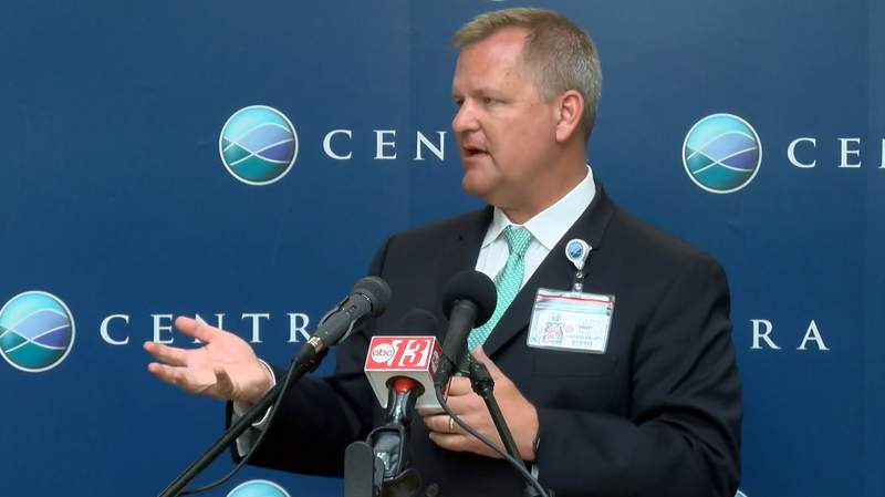 Centra CEO Andy Mueller addressing the media on March 24, 2020.