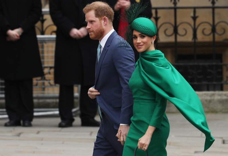 Prince Harry, Duke of Sussex, and Meghan, Duchess of Sussex, arrive to attend the annual Commonwealth Day Service at Westminster Abbey on March 9, 2020 in London, England.