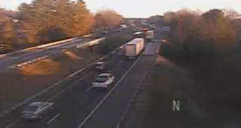 Tractor-trailer crash causes 2.5-mile backup on I-81N.