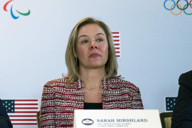 FILE - In this Feb. 18, 2020, file photo, United States Olympic and Paralympic Committee CEO Sarah Hirshland listens during a briefing with the U.S. Olympic and Paralympic Committee and Los Angeles 2028 organizers in Beverly Hills, Calif. A boycott of next year's Beijing Olympics will not solve any geopolitical issues with China and will only serve to place athletes training for the games under a cloud of uncertainty, according to a letter, Hirshland, the head of the U.S. Olympic and Paralympic Committee, wrote to Congress on Thursday, May 13, 2021. Her letter specifically addressed those who believe a boycott of the Winter Games next February would serve as an effective diplomatic tool to protest China's alleged abuses toward Uyghurs, Tibetans and Hong Kong residents.  (AP Photo/Evan Vucci, File)