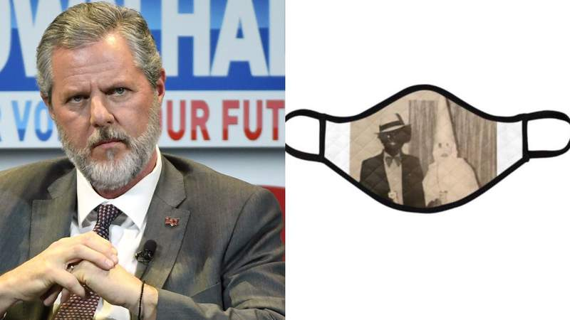 Jerry Falwell Jr. 'designs' his own face mask using Northam's yearbook photo