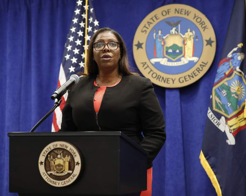 FILE- In this Aug. 6, 2020 file photo, New York State Attorney General Letitia James addresses the media during a news conference in New York. On Friday, Sept. 25, 2020, James recommended the New York Police Department get out of the business of routine traffic enforcement, a radical change that she said would prevent encounters like one the year before in the Bronx borough of New York that escalated quickly and ended with an officer fatally shooting a motorist. (AP Photo/Kathy Willens, File)