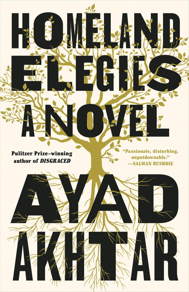 """This cover image released by Little, Brown and Co. shows """"Homeland Elegies,"""" a novel by Ayad Akhtar. Akhtar's acclaimed novel Homeland Elegies, Ben Ehrenreichs environmental warning Desert Notebooks and an illustrated edition of the late William Melvin Kelleys postmodern narrative Dunfords Travels Everywhere are among this years winners of American Book Awards for works that highlight the countrys diversity.  (Little, Brown and Co. via AP)"""