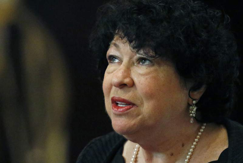 FILE - In this Aug. 17, 2019 file photo, U.S. Supreme Court Associate Justice Sonia Sotomayor, speaks at the Mississippi Book Festival in Jackson, Miss.  U.S. District Judge Esther Salas in New Jersey says the lawyer who killed her son and seriously wounded her husband also had been tracking Supreme Court Justice Sonia Sotomayor.  Salas told CBS News' 60 Minutes  FBI agents discovered the information in a locker belonging to the lawyer, Roy Den Hollander.  (AP Photo/Rogelio V. Solis)