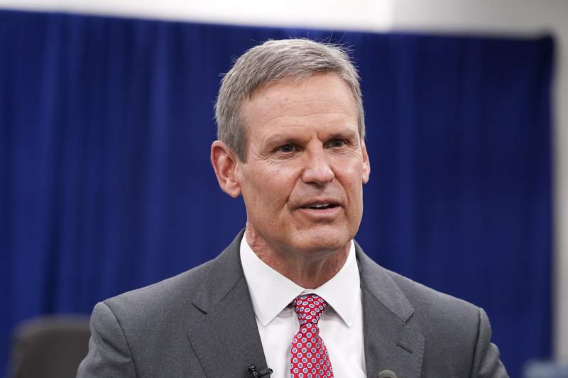 FILE - In this Nov. 10, 2020, file photo, Tennessee Gov. Bill Lee speaks with reporters in Nashville, Tenn. A federal appeals court ruled Friday, Nov. 20, 2020, that Tennessee can begin outlawing abortions because of a prenatal diagnosis of Down syndrome, as well prohibit the procedure if it is based on the race or gender of the fetus. Earlier this year, Lee enacted the so-called reason bans as part of a sweeping anti-abortion measure that he signed earlier this year. (AP Photo/Mark Humphrey, File)