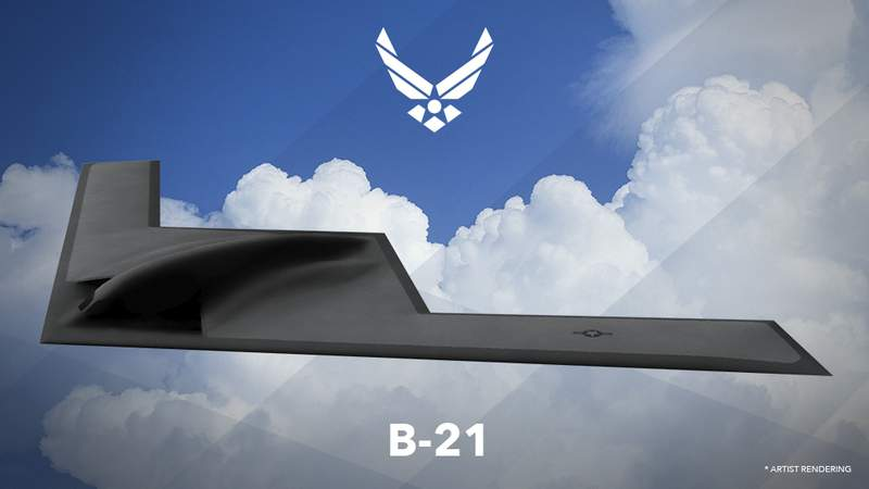 This undated artist rending provided by the U.S. Air Force shows a U.S. Air Force graphic of the Long Range Strike Bomber, designated the B-21. The Air Force expects to spend at least $55 billion to field an all-new nuclear-capable bomber for the future, the B-21 Raider, at the same time the Pentagon will be spending hundreds of billions of dollars to replace all of the other major elements of the nation's nuclear weapons arsenal. The Air Force also is investing heavily in new fighters and refueling aircraft, and like the rest of the military it foresees tighter defense budgets ahead. (U.S. Air Force via AP)