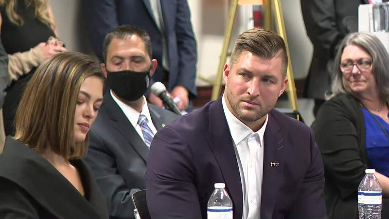 Tim Tebow (right) and Demi-Leigh Tebow (right) speaking during a discussion in Atlanta hosted by U.S. Attorney General William Barr regarding human trafficking