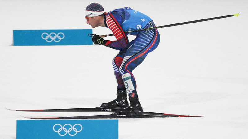 Feb 22, 2018; Pyeongchang, South Korea; Bryan Fletcher (USA) skis in the nordic combined mens team large hill and 4x5km ski jumping event during the Pyeongchang 2018 Olympic Winter Games at Alpensia Ski Jumping Centre.