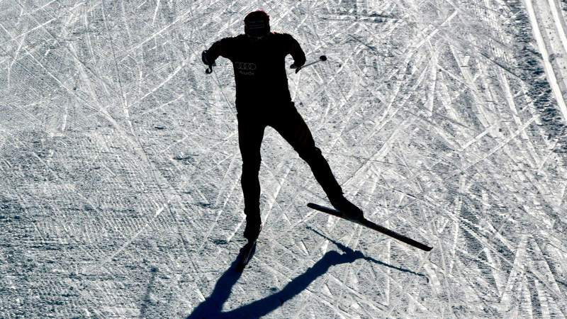 Feb 19, 2003; Val Di Fiemme, Italy: A general training feature of Nordic combined skiing.