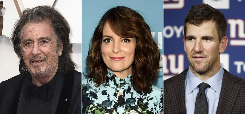 This combination photo shows actor Al Pacino, from left, writer-producer and actress Tina Fey and former New York Giants quarterback Eli Manning who will join a star-studded lineup to celebrate the selfless acts of New Yorkers. Robin Hood and iHeartRadio announced a collaboration Thursday to present Heroes of New York, which will air Dec. 1 on television and radio stations in New York. (AP Photo)